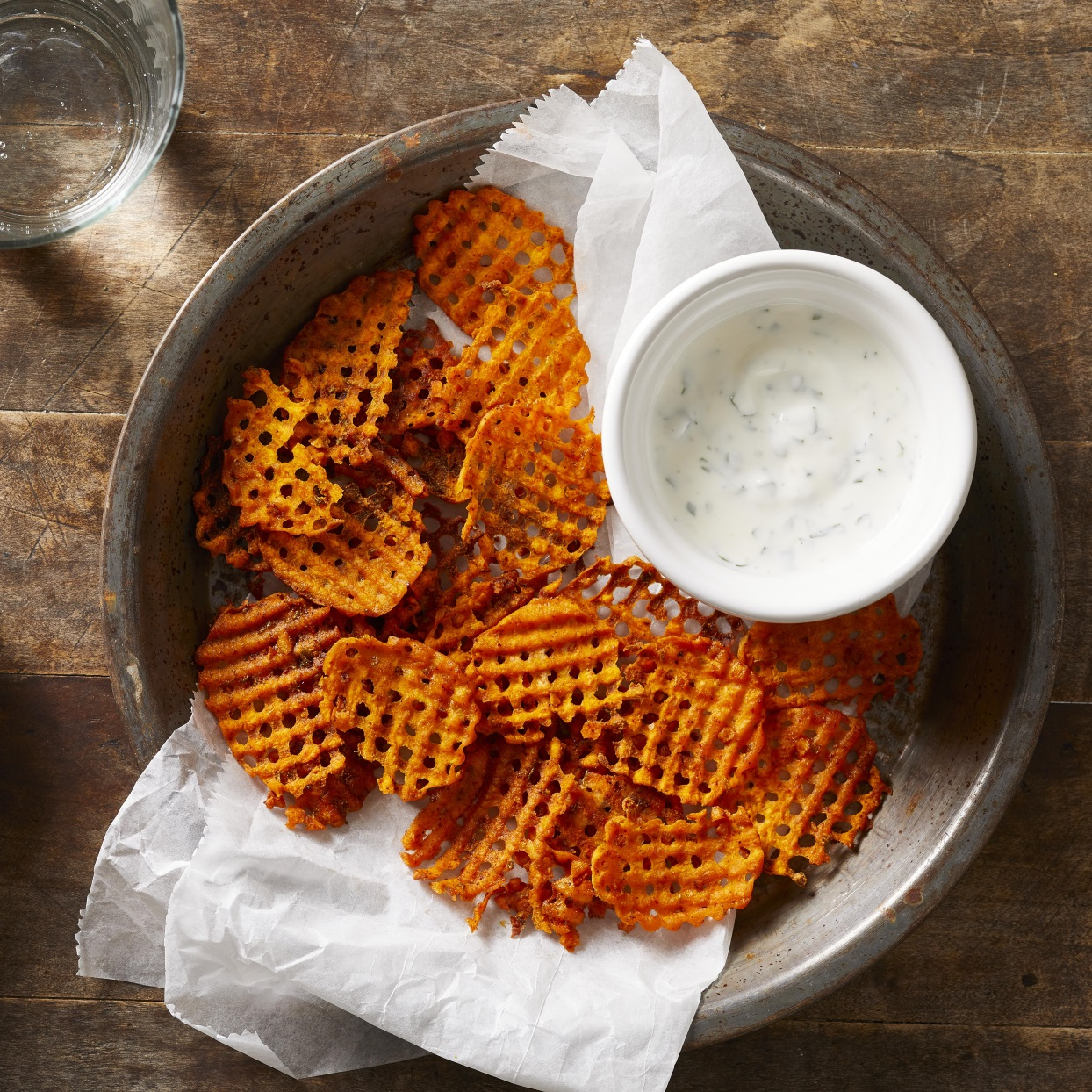 Tajín Waffle Fries with Creamy Cilantro-Lime Dipping Sauce Carolyn Casner