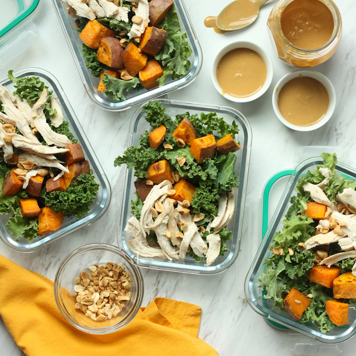 These hearty kale salads hold up well for 4 days, making them perfect for meal-prep lunches. To keep the ingredients from getting soggy, dress this salad and top it with peanuts just before serving. For a delicious vegan option, swap in roasted tofu for the chicken breast (see Associated Recipes). Source: EatingWell.com, December 2019