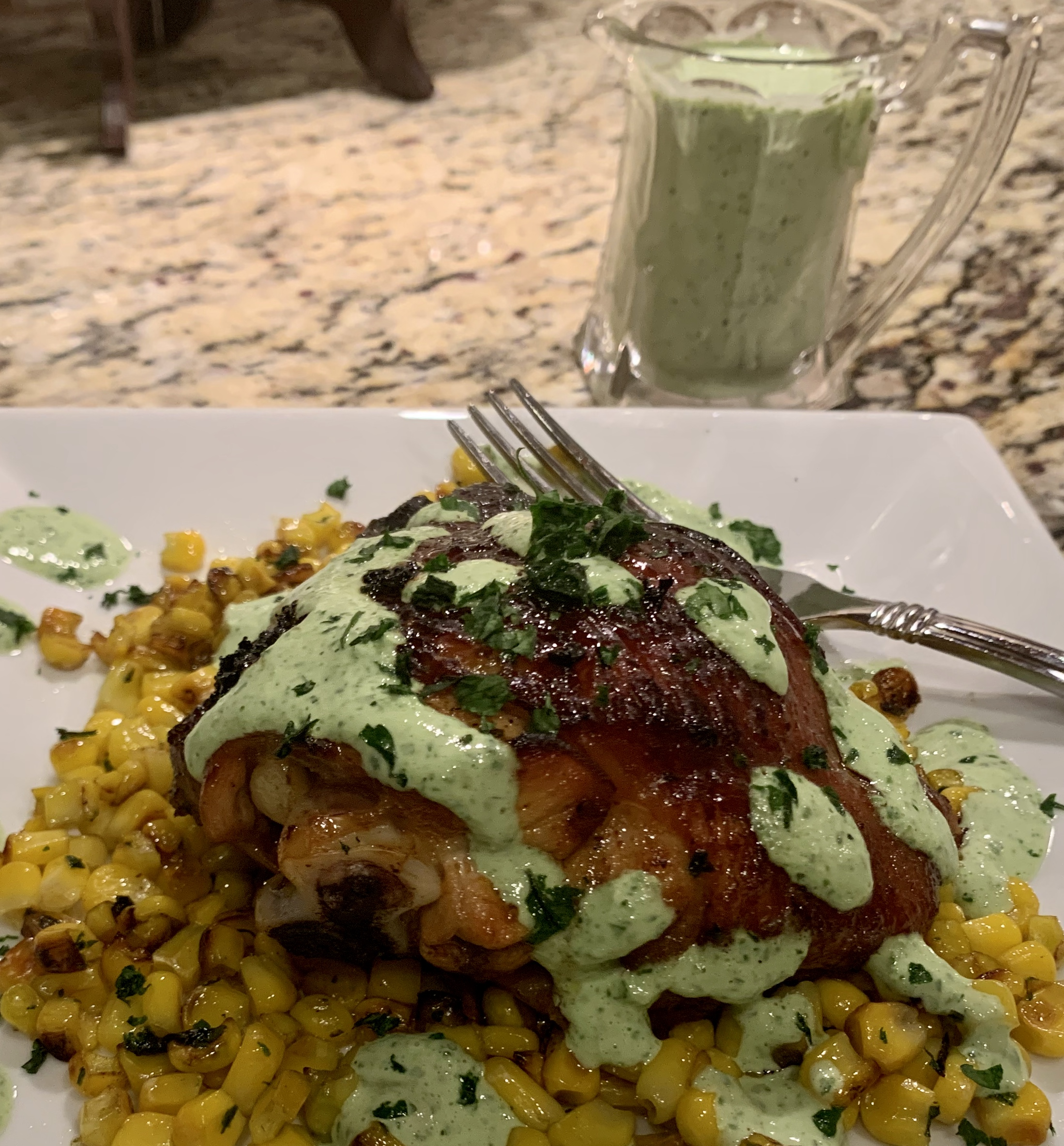 Air-Fried Peruvian Chicken Drumsticks with Green Crema Janice