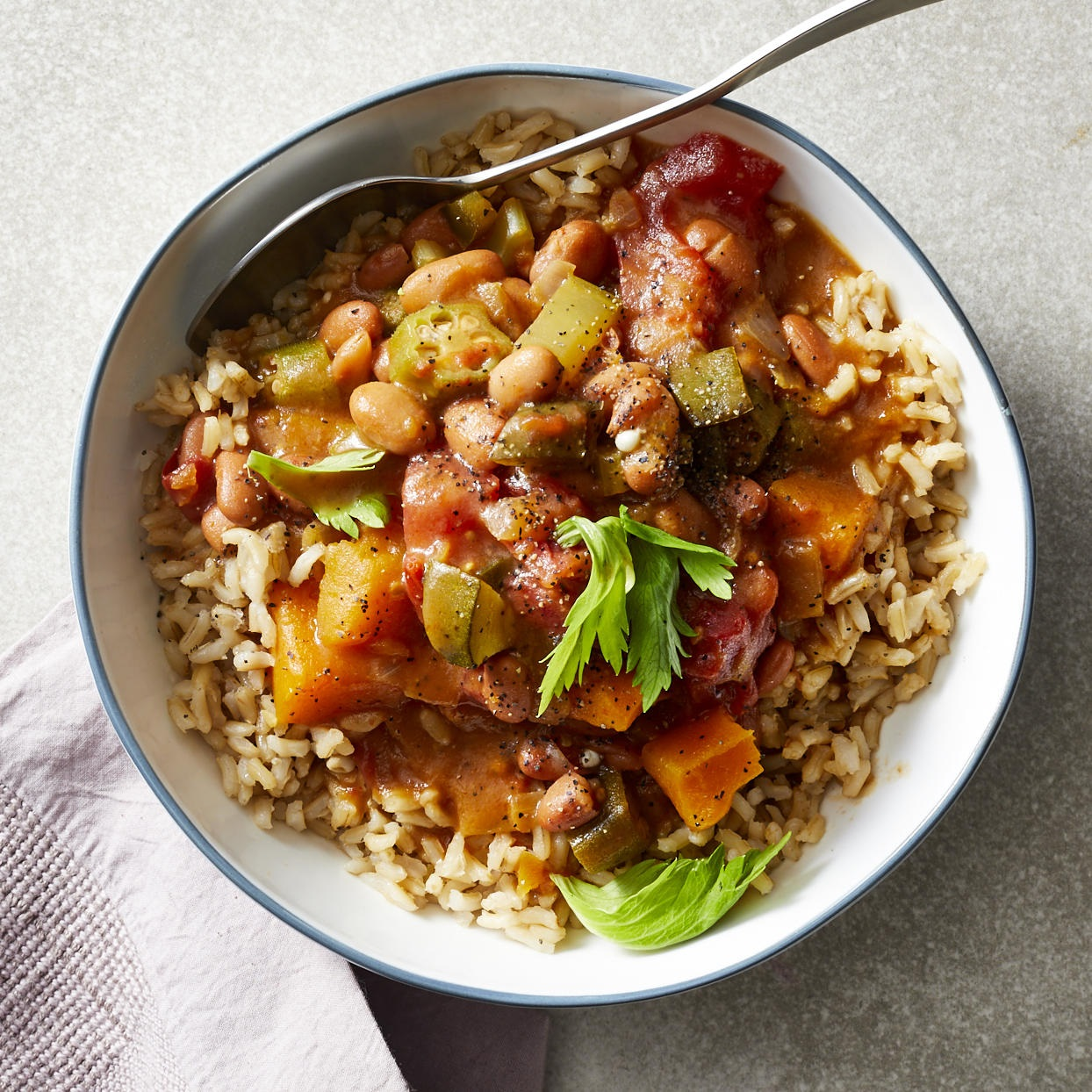 This flavorful vegan dinner is a veggie version of the Louisiana classic. It's chock-full of butternut squash, tomatoes, poblano peppers and okra, to name just a few. This vegetarian gumbo is a quick dinner packed with flavor and spice that's done in only 30 minutes. To make it a meal, serve it with cornbread drizzled with olive oil. Source: EatingWell.com, December 2019
