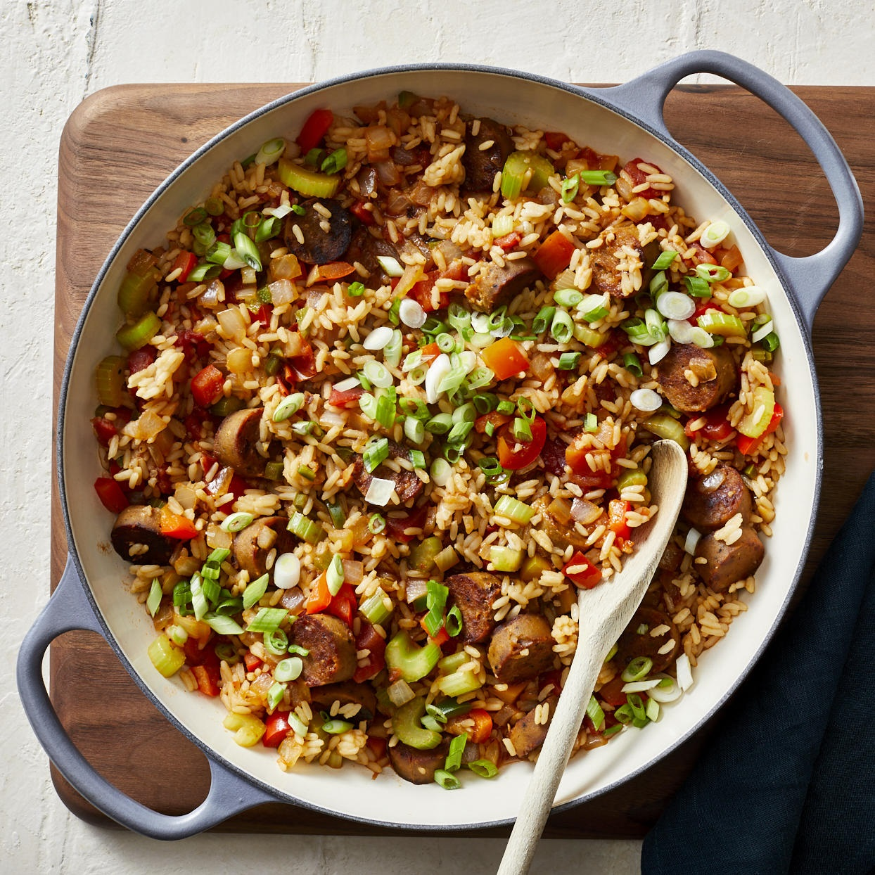 "You won't miss the meat in this healthy jambalaya recipe. Vegan smoked sausage takes its place while the classic ""trinity"" of vegetables--onion, red bell pepper and celery--get a kick from jalapeño peppers. And everything is cooked in one skillet, which means cleanup is a breeze! Source: EatingWell.com, December 2019"