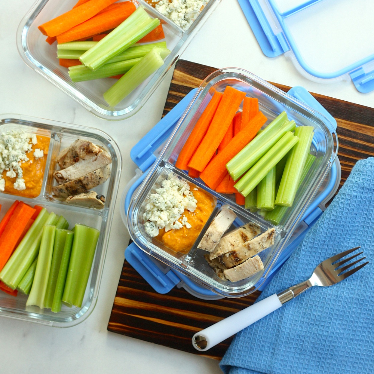 These tailgate-inspired lunch bowls can be assembled in about 15 minutes using just a handful of ingredients from your local specialty grocery store, like pregrilled chicken and spicy Buffalo-flavored hummus. We're packing these up with crunchy veggie sticks and blue cheese so you can savor all the game-day flavors, but for a fraction of the calories.Source: EatingWell.com, December 2019