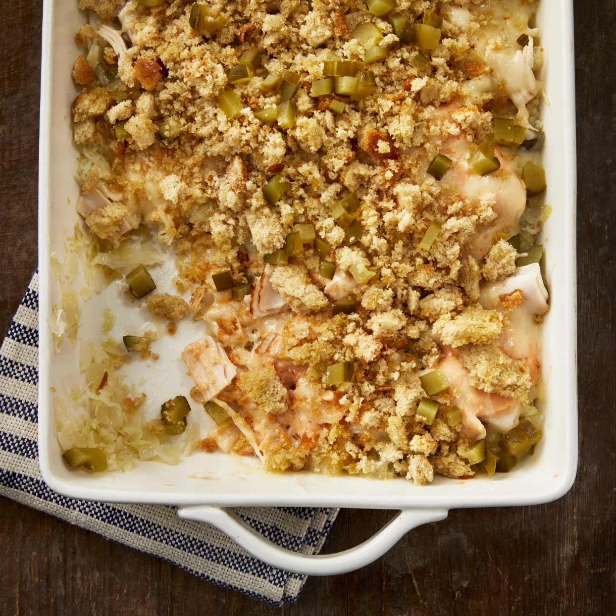 This Reuben casserole recipe has all the delicious elements of a Reuben sandwich with much less sodium and calories. Thinly sliced angel hair cabbage cooked with a splash of vinegar stands in for the sauerkraut, and lower-sodium deli turkey adds a rich, meaty flavor in place of the traditional corned beef. Source: EatingWell.com, December 2019