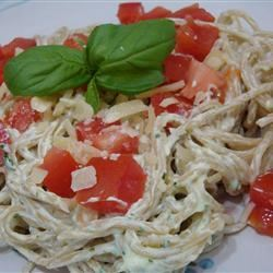 Creamy Pesto Pasta Salad with Chicken, Asparagus and Cherry Tomatoes