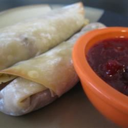 Leftover Turkey Spring Rolls with Cranberry Sweet and Sour Dipping Sauce mommyluvs2cook