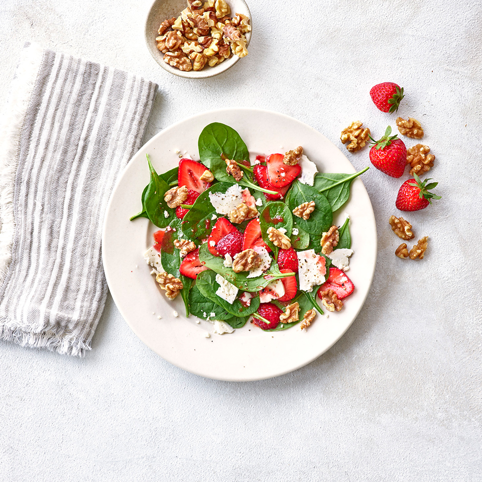 Spinach, Walnut, and Strawberry Salad