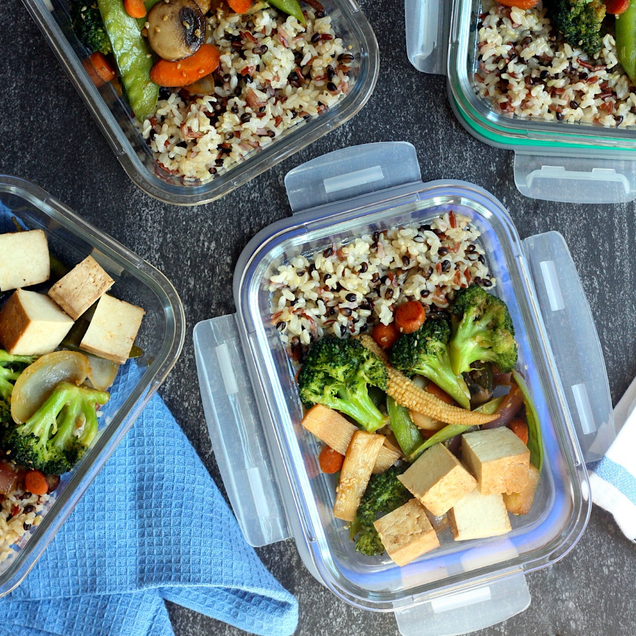 With a handful of shortcut ingredients from your local specialty grocery store, you can prepare an entire week's worth of high-fiber meals in about 15 minutes. Look for precooked wild rice packets to cut down on prep time. Plus, wild rice is a good source of fiber and each pouch of cooked rice heats in 3 minutes. Topping these bowls with prebaked tofu also cuts down on the time it takes to make this quick meal-prep lunch. Source: EatingWell.com, December 2019