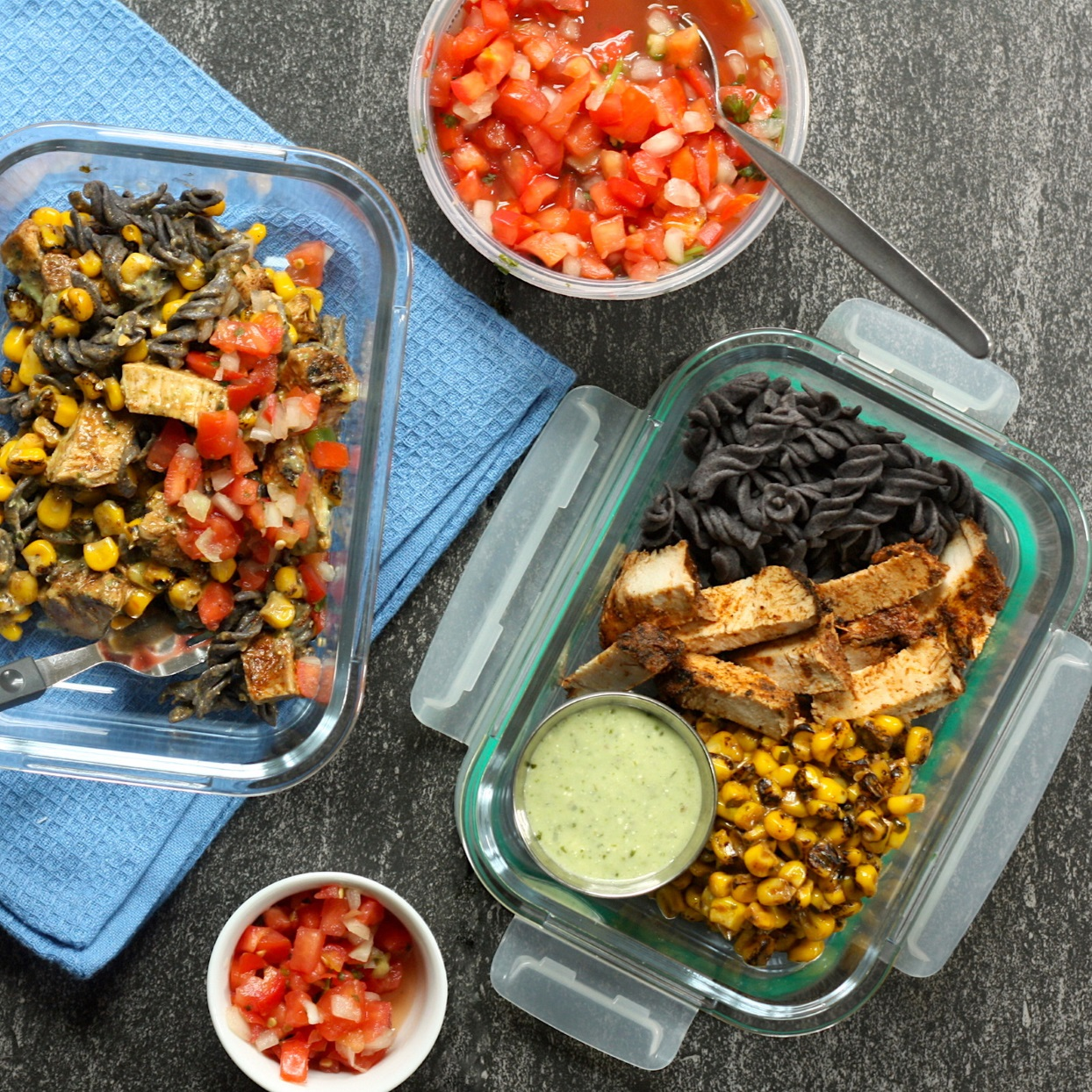 Meal-prep a week's worth of delicious and satisfying high-fiber lunches with just 5 simple ingredients and 20 minutes. In this Southwestern-style pasta salad, we're using pasta made with black beans to bump up the fiber to an impressive 14 grams per serving. Paired with seasoned chicken strips and a flavorful corn salad--shortcut ingredients you can often find at your local specialty grocery store--this meal-prep lunch is one you'll get excited for.