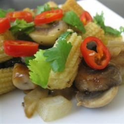 Stir-Fried Mushrooms with Baby Corn mommyluvs2cook