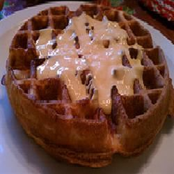 Cornmeal Bacon Waffles with Cheese Sauce Karisma