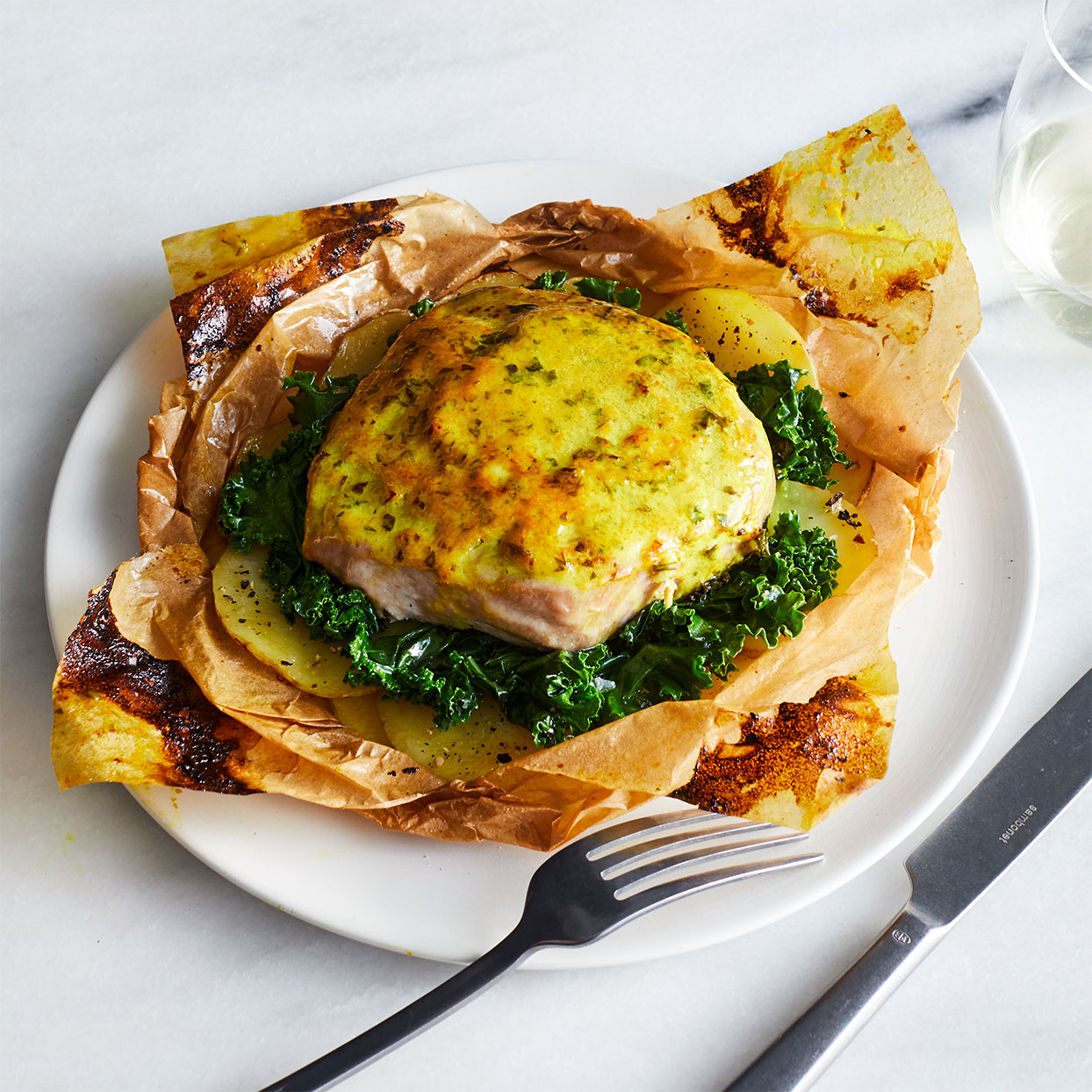 Parchment Packet Baked Tuna Steaks & Vegetables with Creamy Dijon-Turmeric Sauce