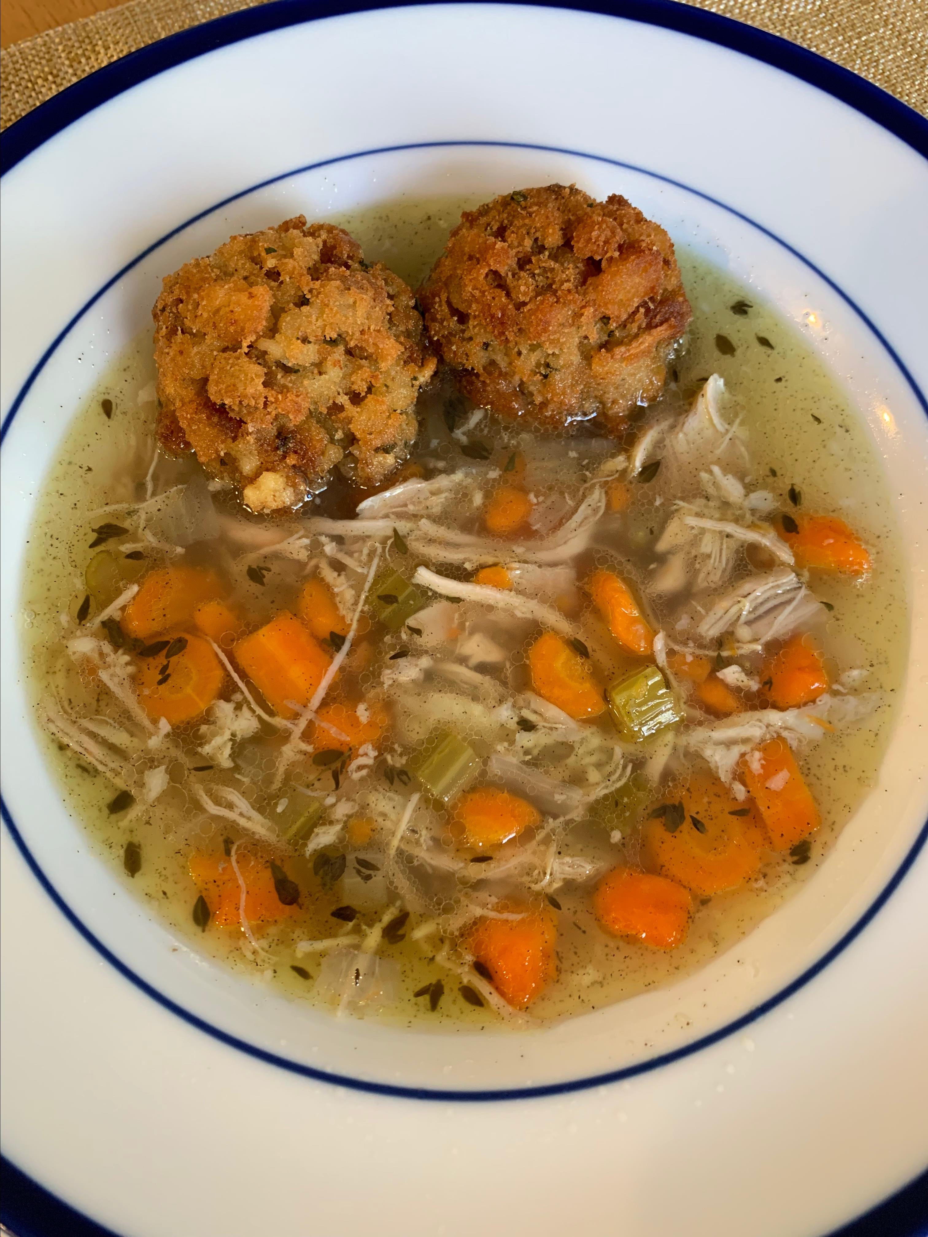 Delicious Turkey Soup with Deep-Fried Stuffing Balls