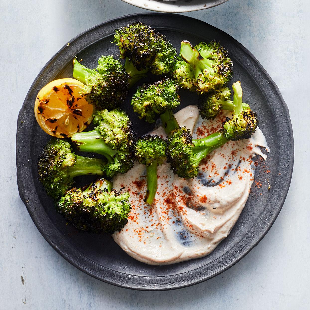 Grilled Broccoli with Smoky Yogurt Sauce Devon O'Brien