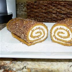Pumpkin Roll with Ginger and Pecans