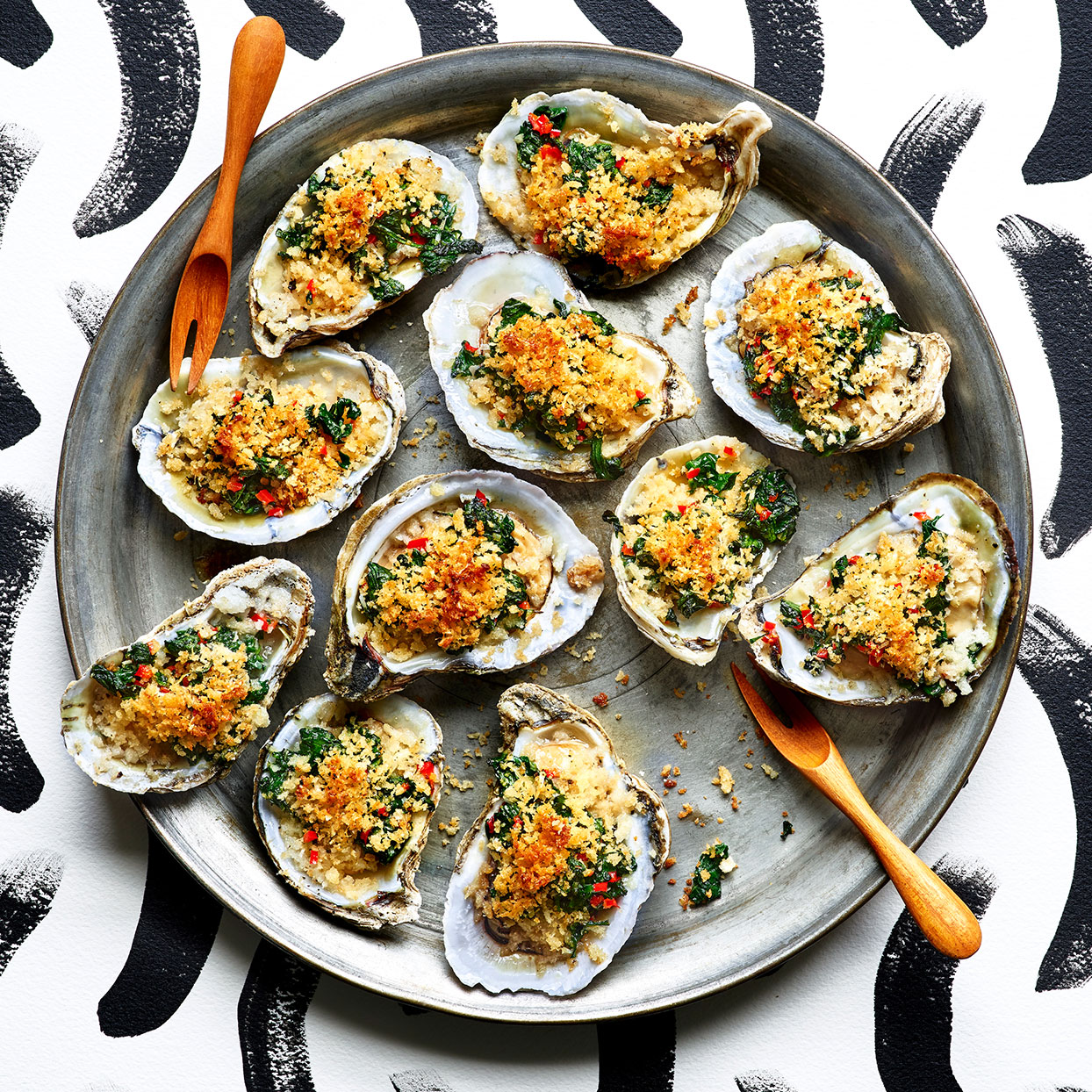 These succulent baked oysters thrill with spicy spinach and a crispy cheese topping. Source: EatingWell Magazine, January/February 2020