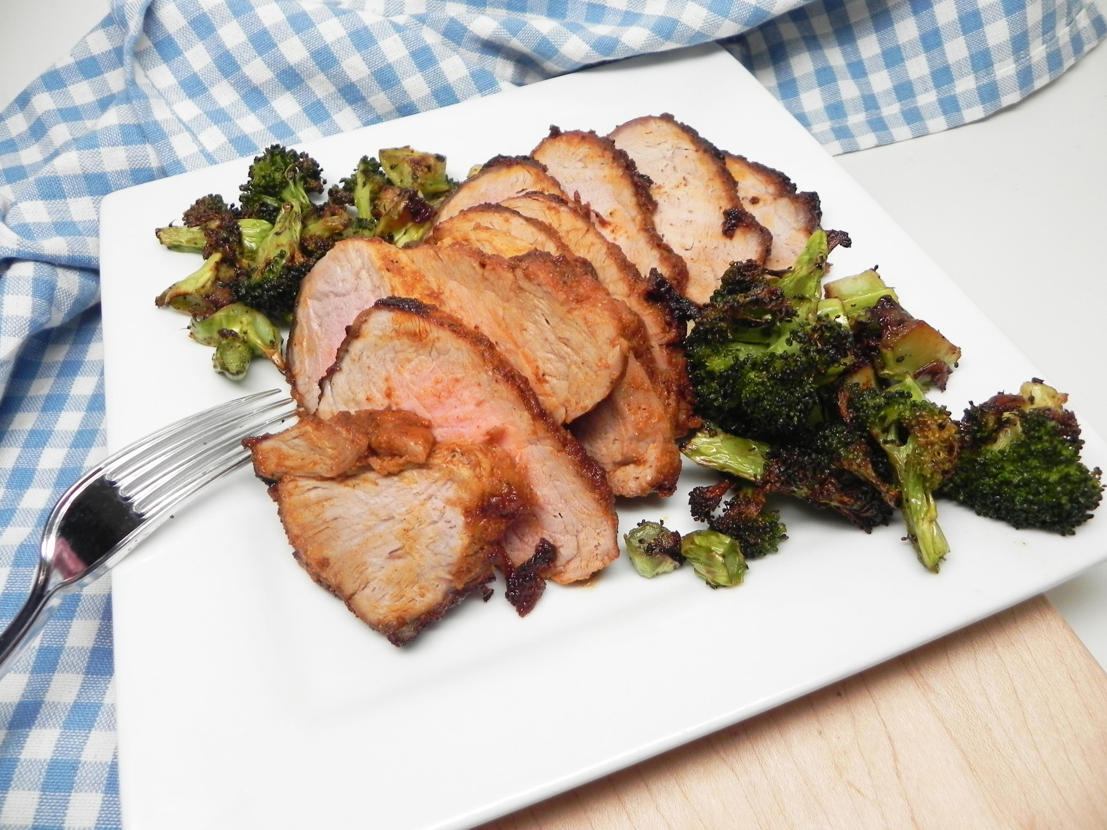 Air Fryer Dry-Rubbed Pork Tenderloin with Broccoli Soup Loving Nicole