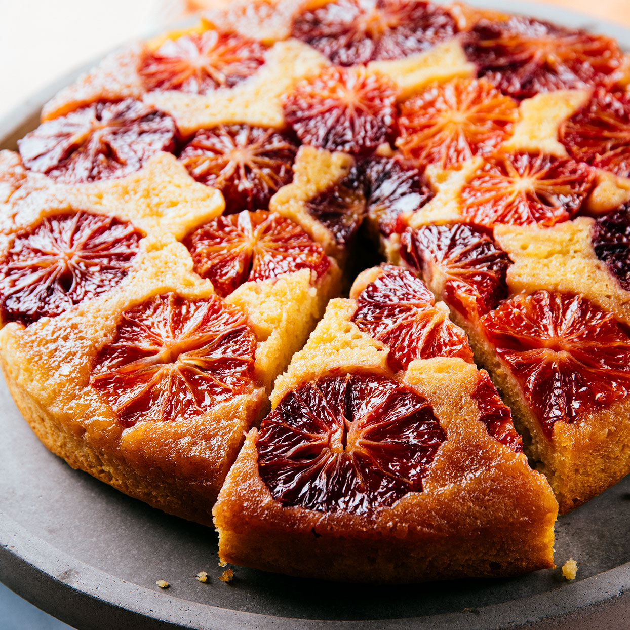 Upside-down cakes have a built-in wow factor with a layer of glacéed-looking fruit. This cake includes almond flour to give it richness and added moisture, plus zest for a more intense layer of blood orange flavor.