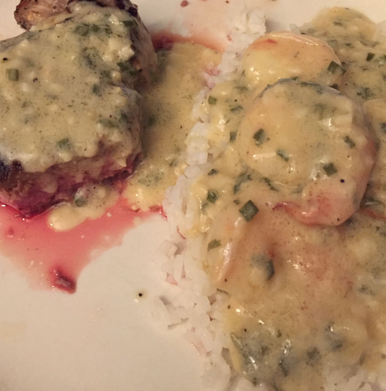 Filet Mignon with Garlic Shrimp Cream Sauce