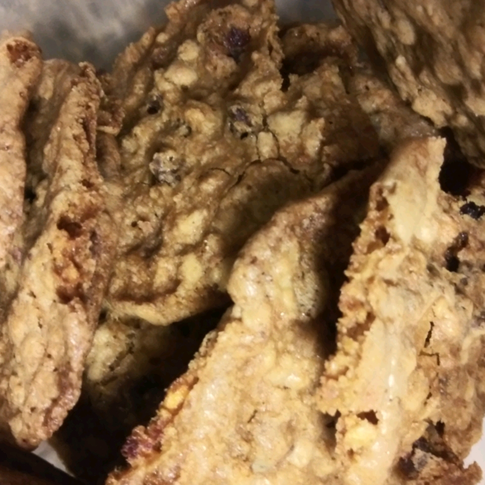 Chewy Chocolate-Toffee-Oatmeal Cookies with Cranberries