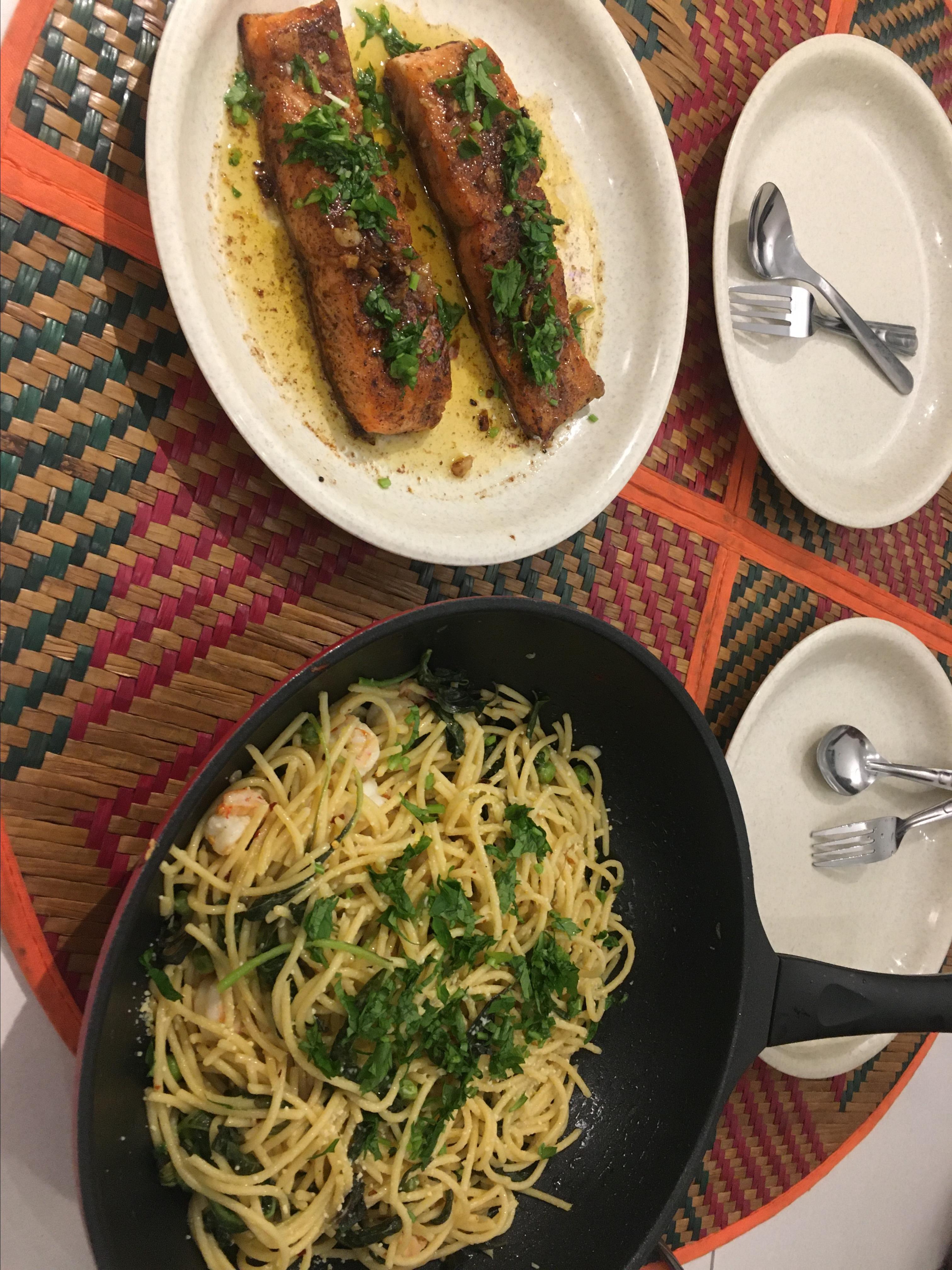 Last-Minute Lemon Spaghetti and Shrimp Reena
