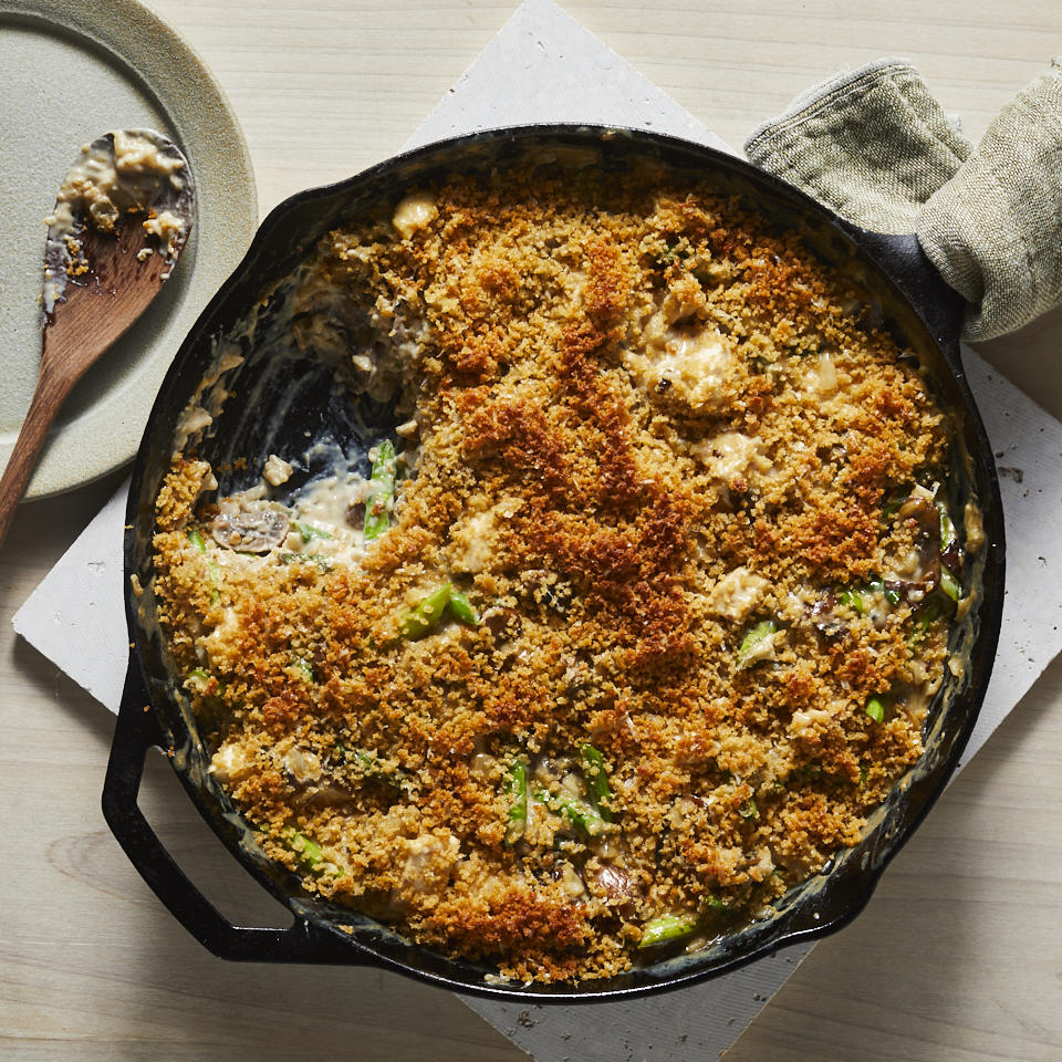 This comforting weeknight casserole recipe features plenty of mushrooms and asparagus combined with chicken and brown rice and a creamy Parmesan cheese sauce. Whip this up anytime you have leftover chicken or cooked brown rice to spare.