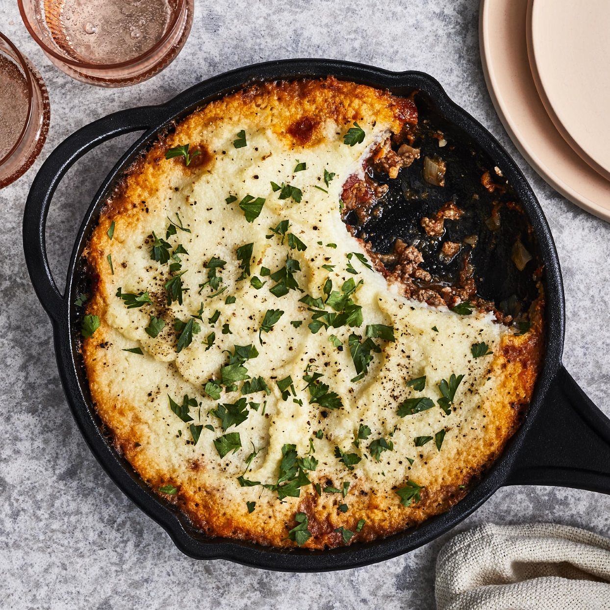 In this easy shepherd's pie recipe, we keep the carbs in check by using creamy mashed cauliflower in place of mashed potatoes. The ground beef filling is cooked in the same skillet used for baking the pie, making assembly (and cleanup) a breeze.