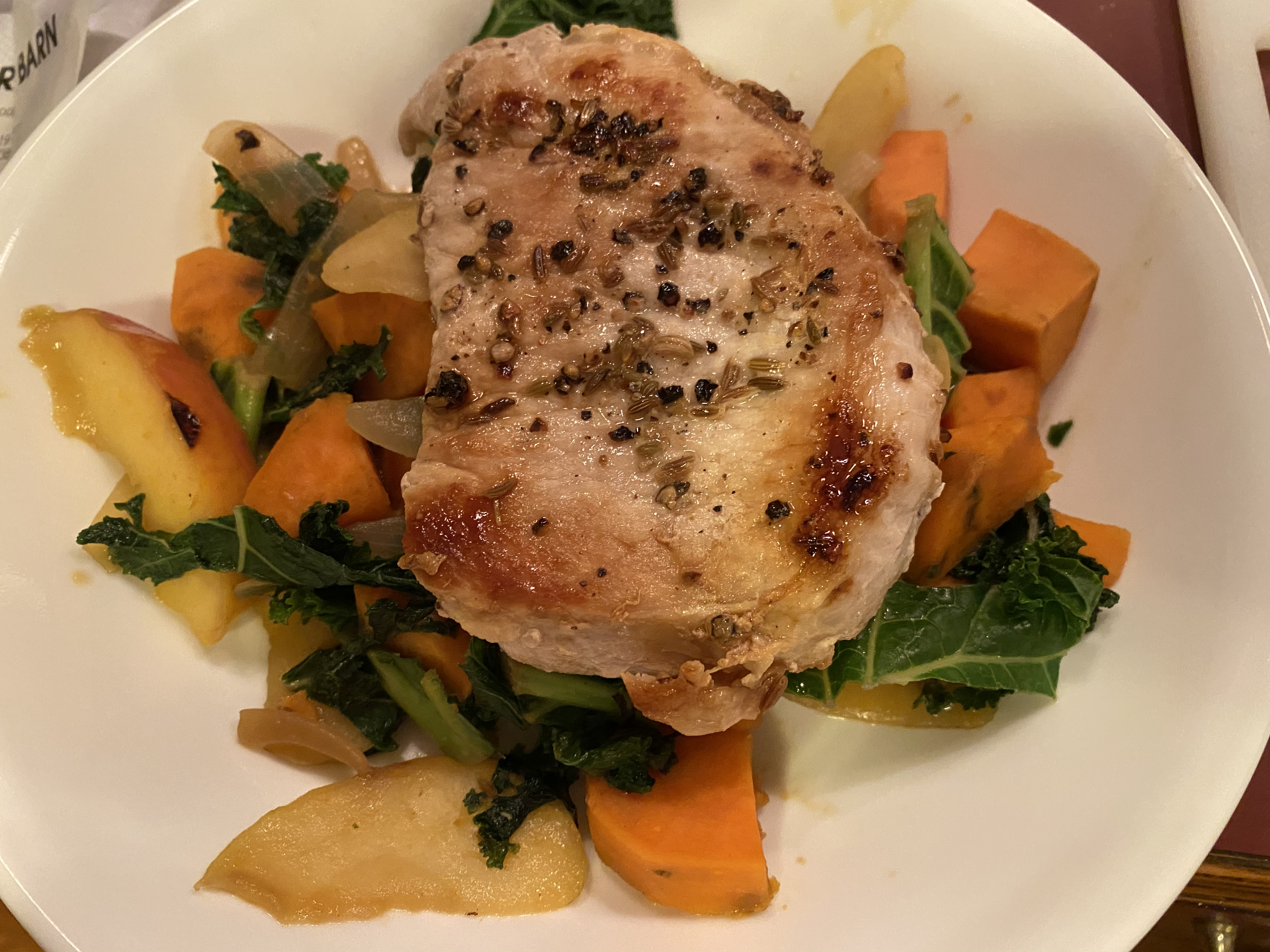 Fennel-Rubbed Pork Chops with Apple, Kale, and Sweet Potato Ellie Krieger