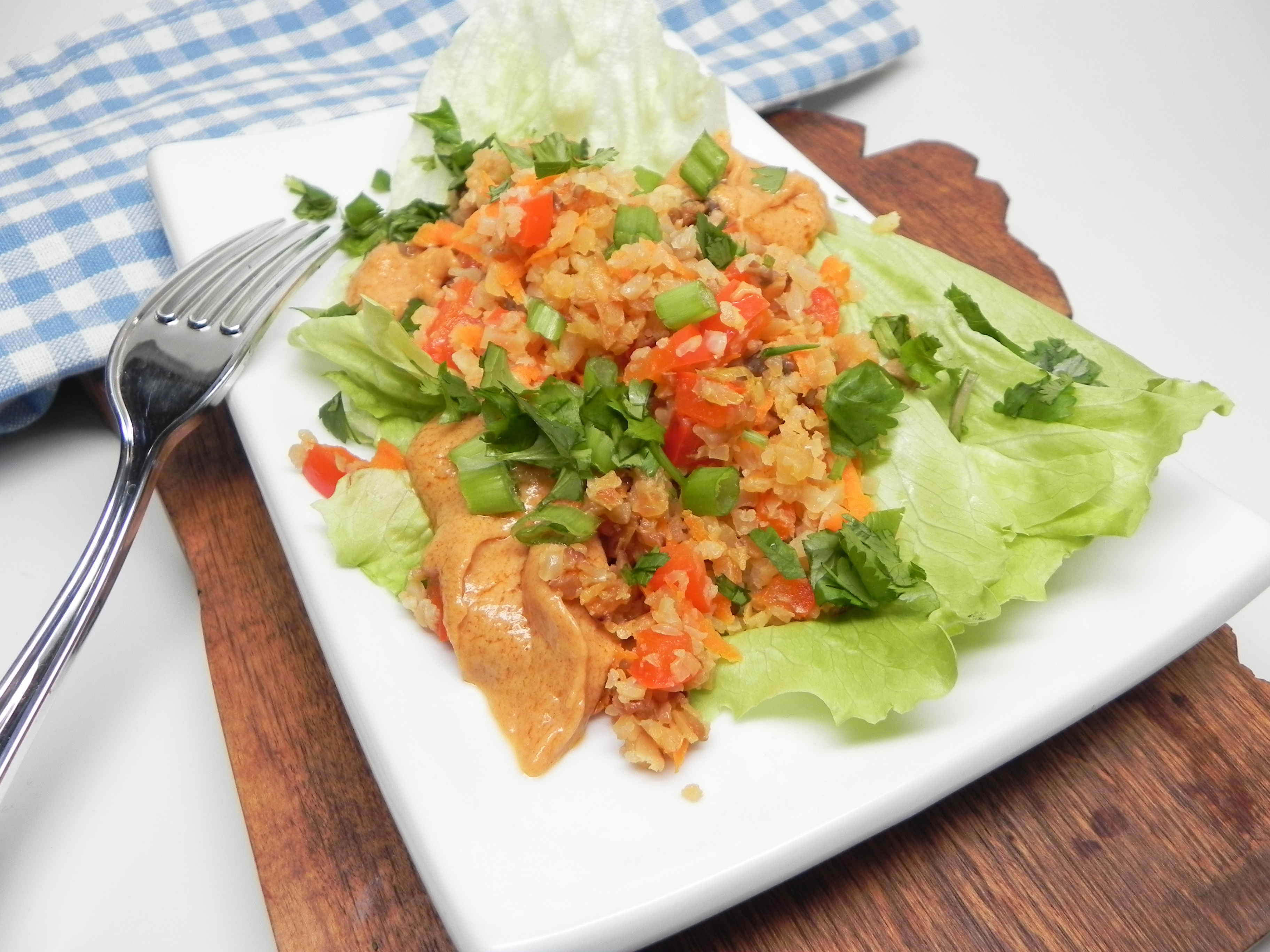 Cauliflower Rice Lettuce Wraps with Spicy Peanut Sauce Soup Loving Nicole