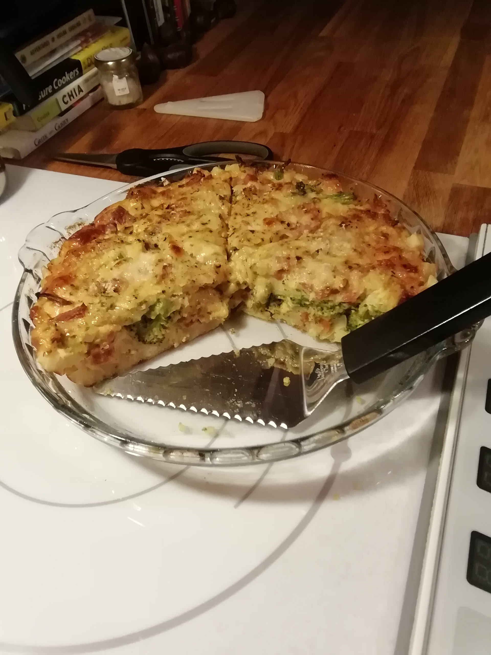 Ham and Broccoli Quiche with Hash Brown Crust Saylorman