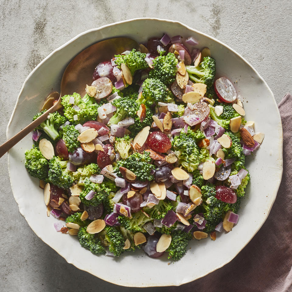 An unlikely pairing of grapes and broccoli creates an out-of-the-ordinary quick side dish. The sweet snappy bite of the grapes complements the crispy raw broccoli and onion, while the creamy dressing and toasted almonds pull it all together. Enjoy it for lunch or double the recipe for an easy potluck recipe everyone will love. Source: EatingWell.com, January 2020