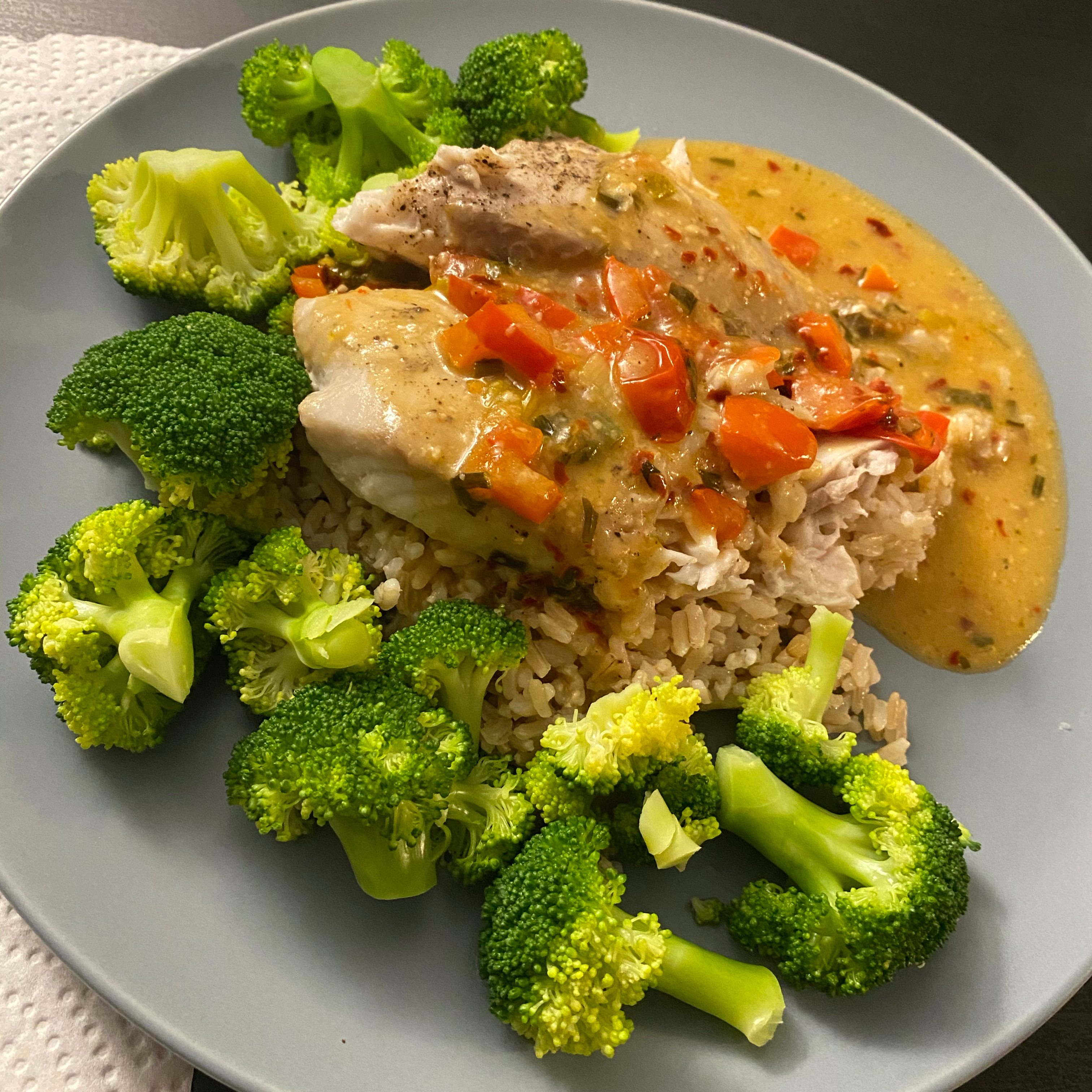 Halibut with Creamy Garlic and Herb Sauce Melissa Snable