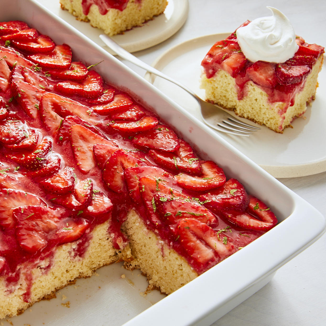 What makes this poke cake so special? After this lightened-up cake is baked and cooled, it's poked with holes (hence the name!) that are filled with fresh pureed strawberries thickened with gelatin to prevent the cake from getting soggy. The end result? Sweet strawberry flavor inside and out! Source: EatingWell.com, January 2020