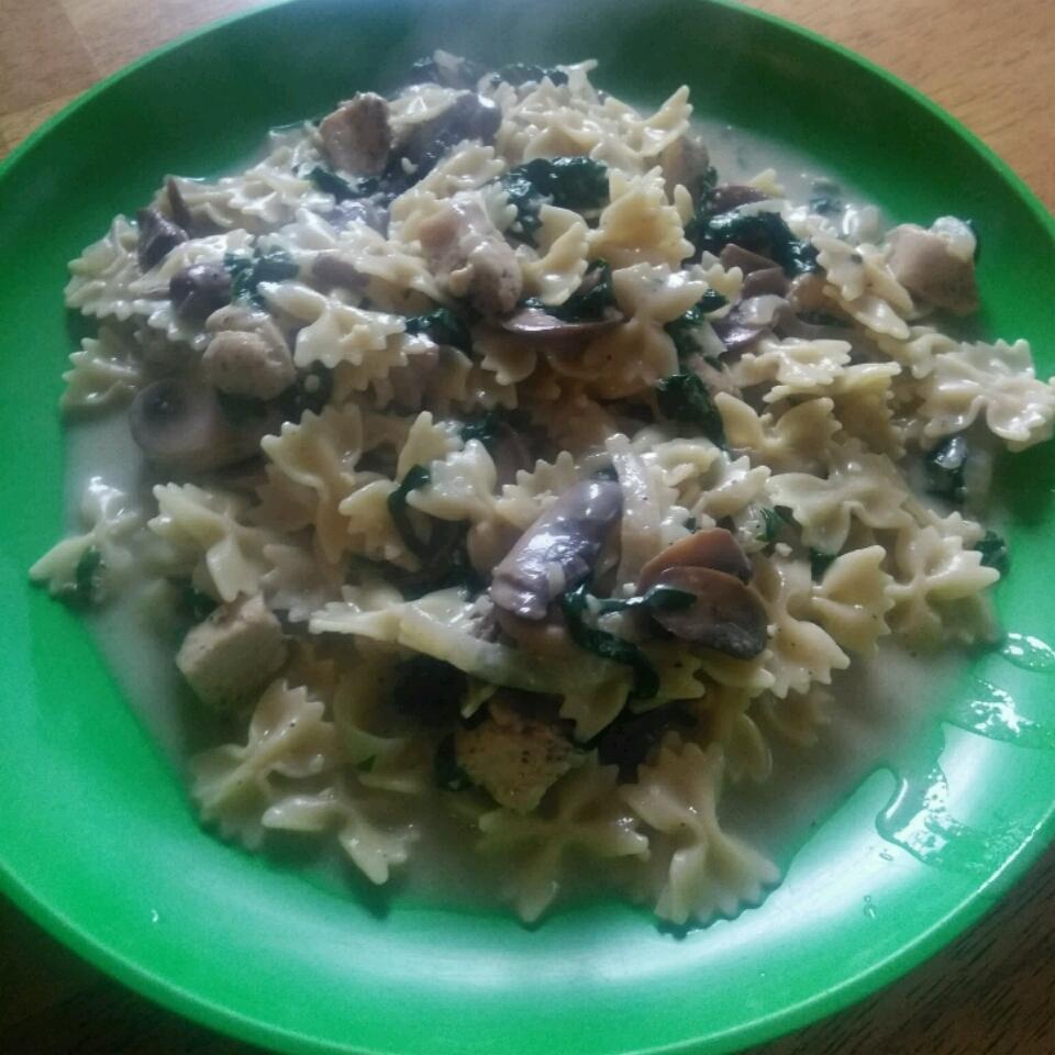 Creamy Chicken, Mushroom, and Spinach Pasta Bill Heleine