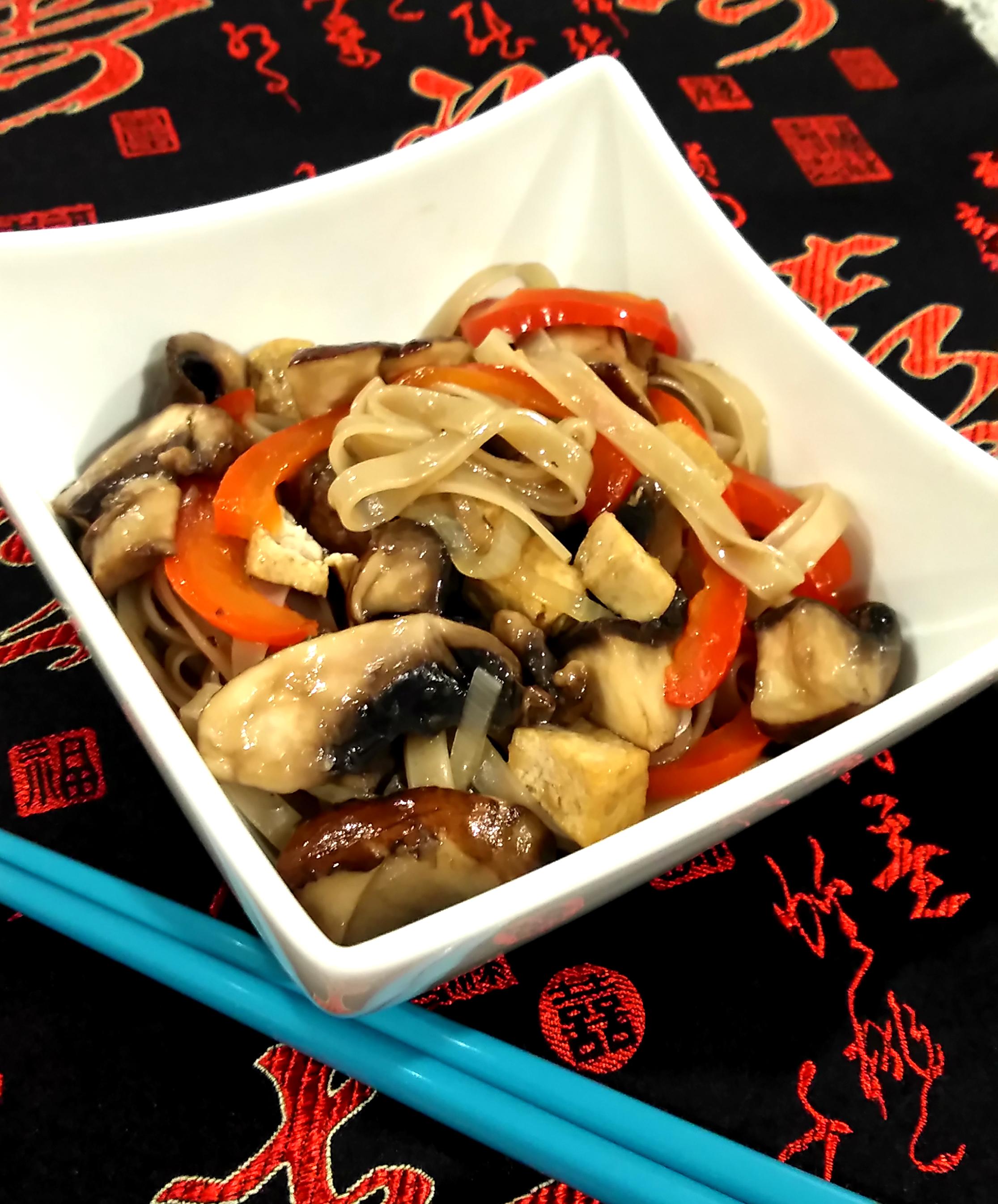 Mushroom, Tofu, and Noodle Stir-Fry