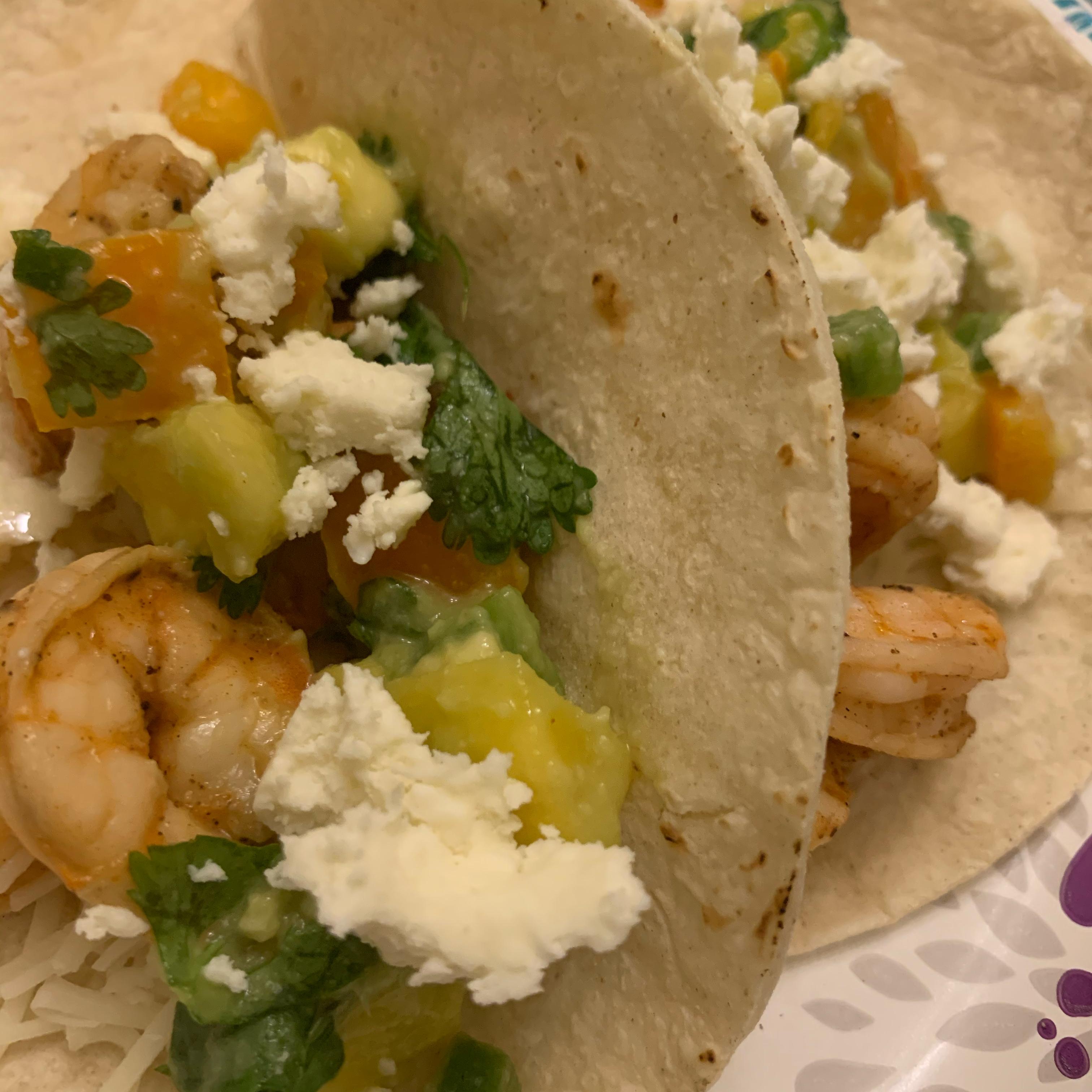 Lime Shrimp Tacos with Mango Salsa Halla Farhat