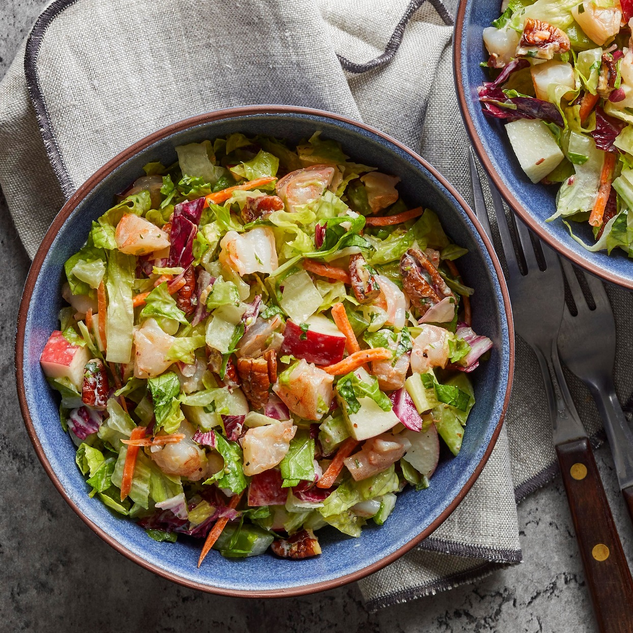 Sweet and crunchy apples and celery combine with savory shrimp and nutty pecans in this easy, colorful dinner salad. Source: EatingWell.com, January 2020