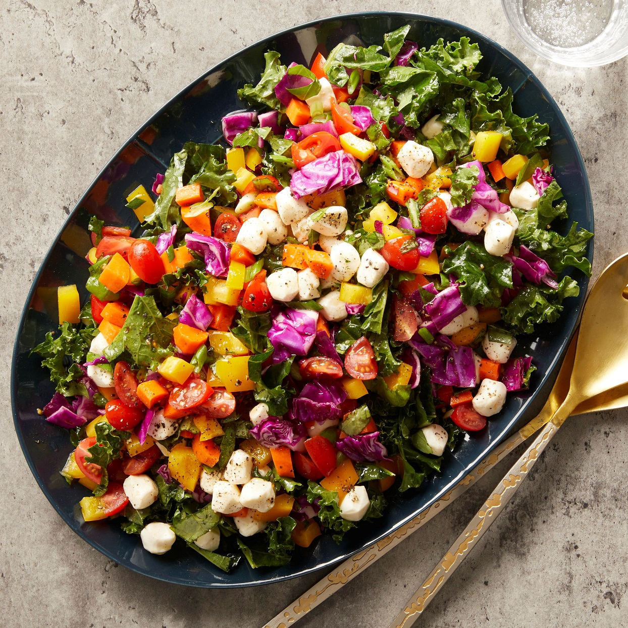 This fresh and colorful salad has all of the delicious flavors you love from the classic caprese salad, plus even more healthy veggies. Double this and top each portion with 3 ounces grilled or roasted chicken to take it from a simple side to a quick main dish. Source: EatingWell.com, January 2020