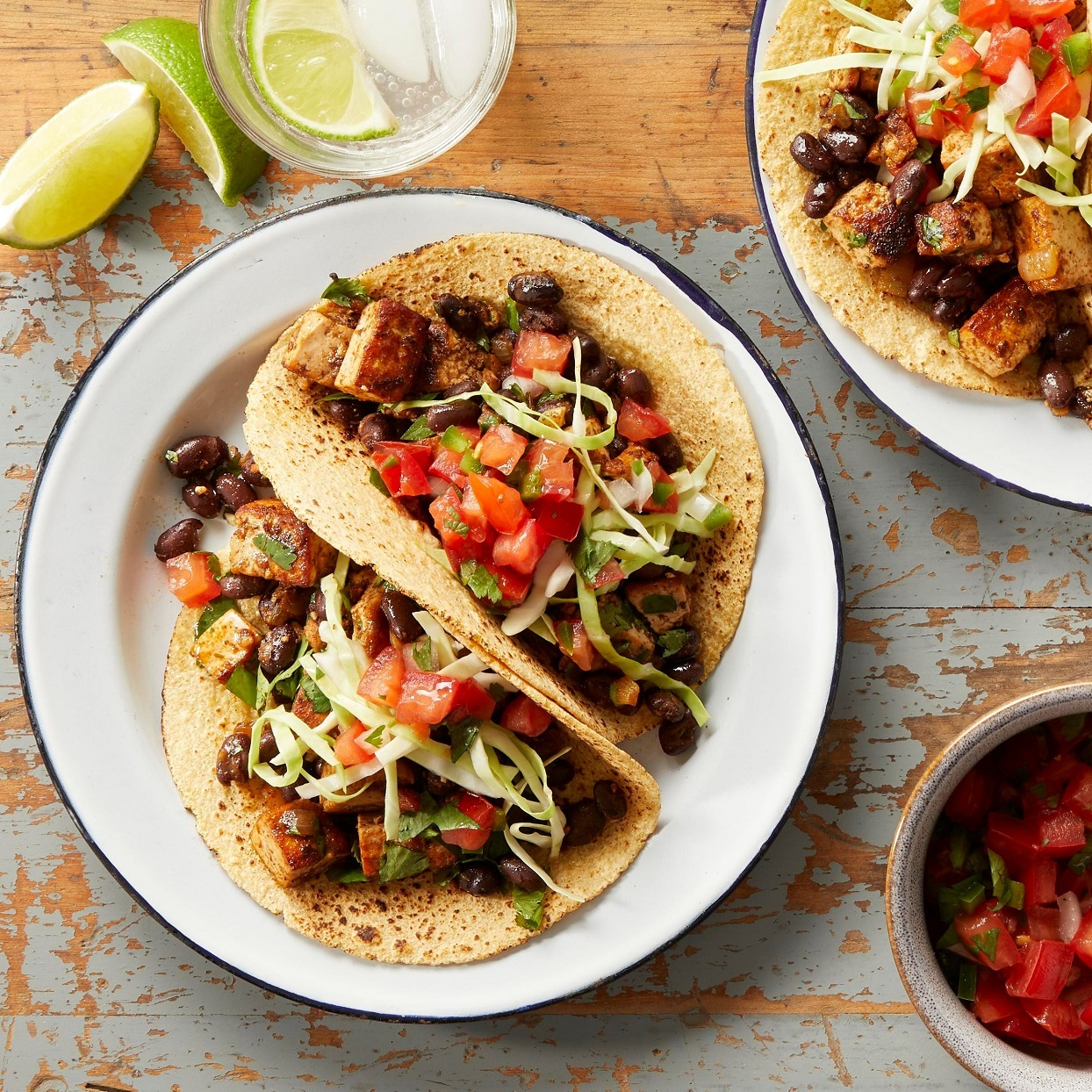 These quick vegan tacos, filled with a spicy tofu filling, make a perfect weeknight dinner. To keep them vegan, top them with shredded cabbage, fresh pico de gallo and guacamole. For vegetarians, add crumbled queso fresco. Source: EatingWell.com, January 2020