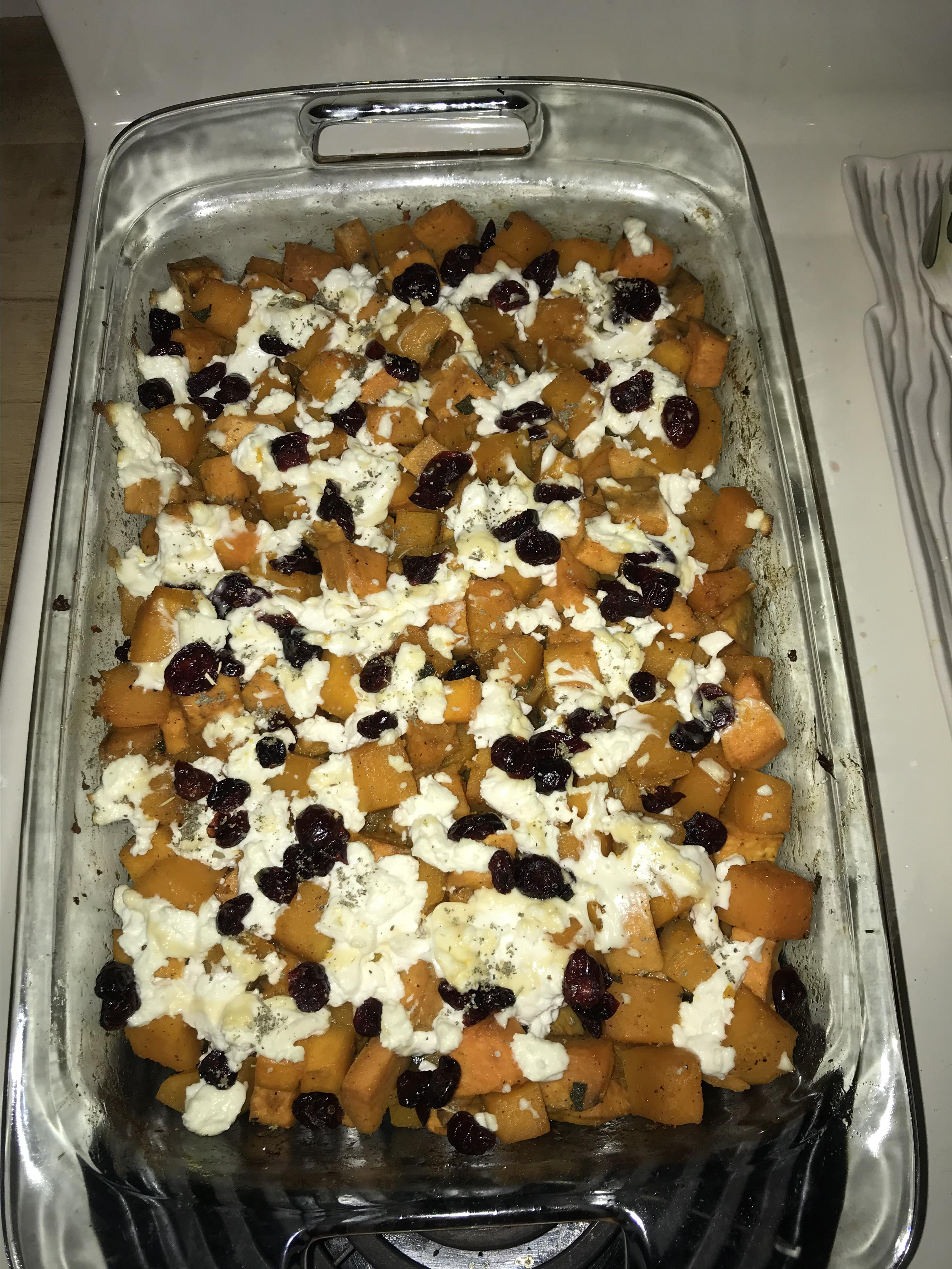 Roasted Squash and Sweet Potatoes with Goat Cheese Heather Layman Hinkel