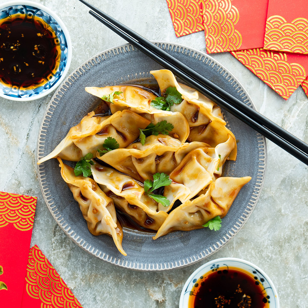 Serve these deliciously savory mushroom-and-chicken dumplings for Lunar New Year or any other special occasion. The sauce has just the right balance of sweet, spicy and tangy flavors. Source: EatingWell.com, January 2020