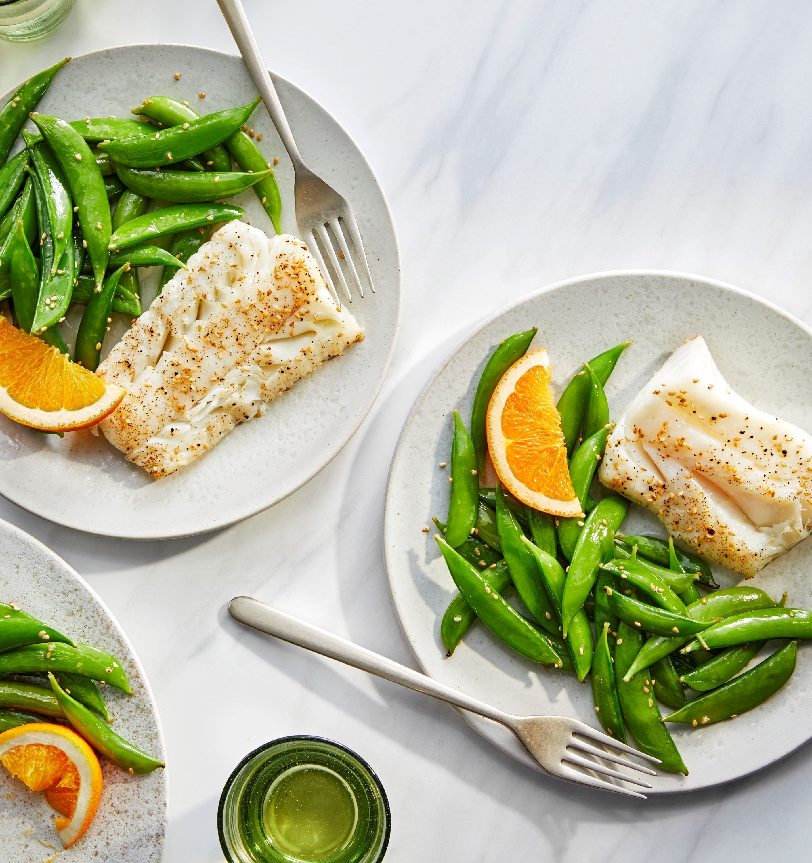 Air-Fried Sesame-Crusted Cod with Snap Peas