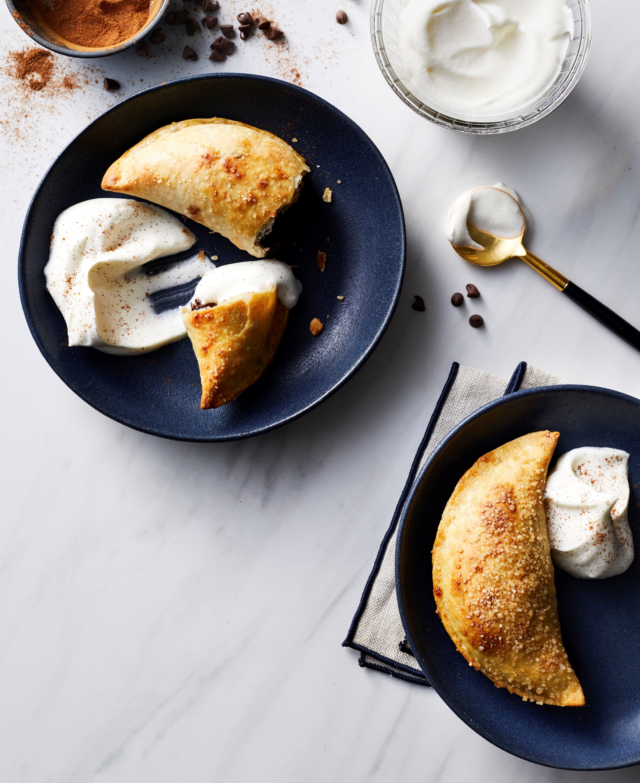Air-Fried Chocolate-Banana Empanadas with Cinnamon Whipped Cream