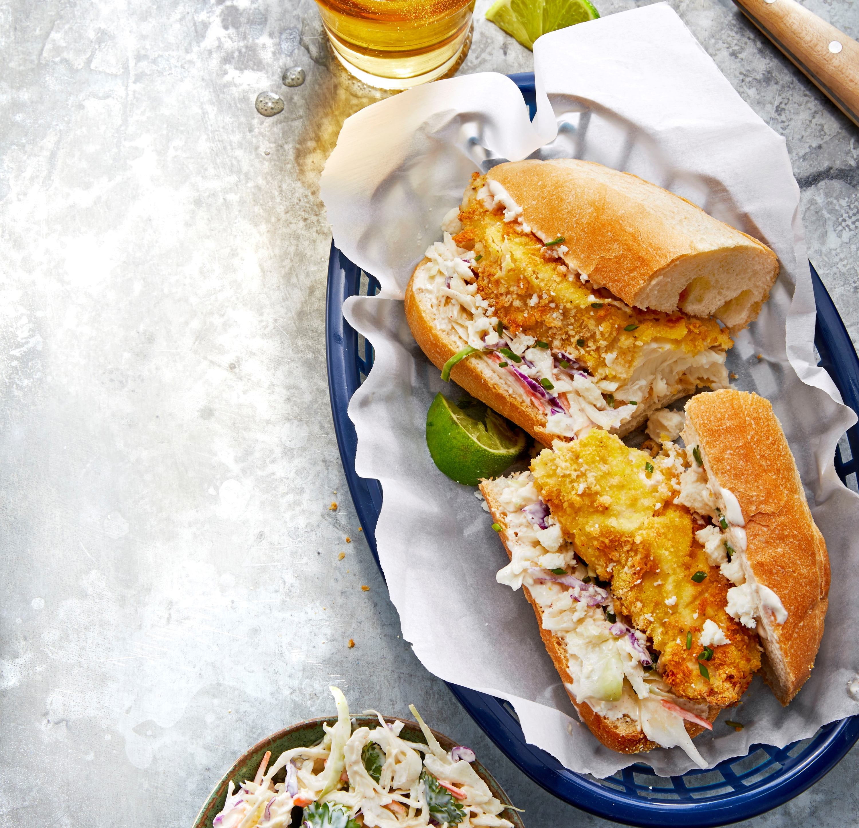 Air-Fried Crispy Fish Po' Boys with Chipotle Slaw