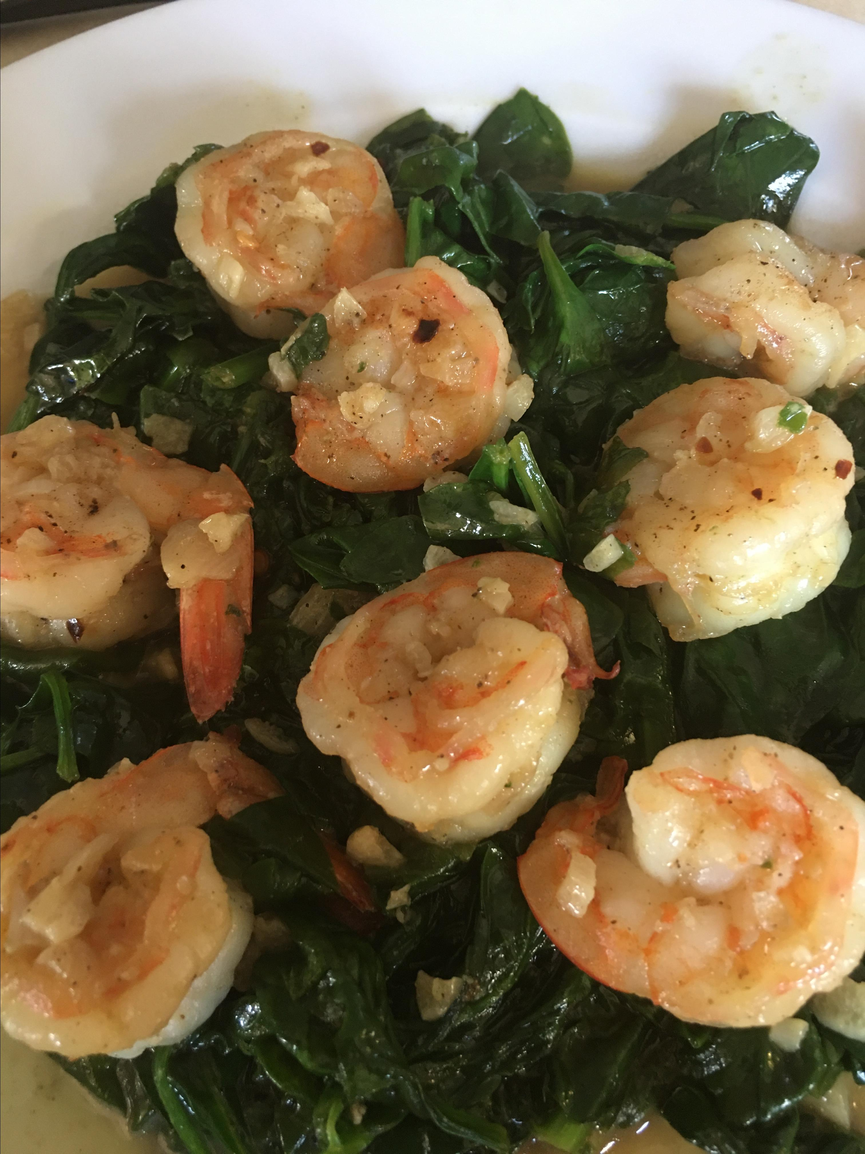 Sauteed Shrimp with Spinach Rene Snodey