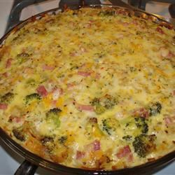 Ham and Broccoli Quiche with Hash Brown Crust