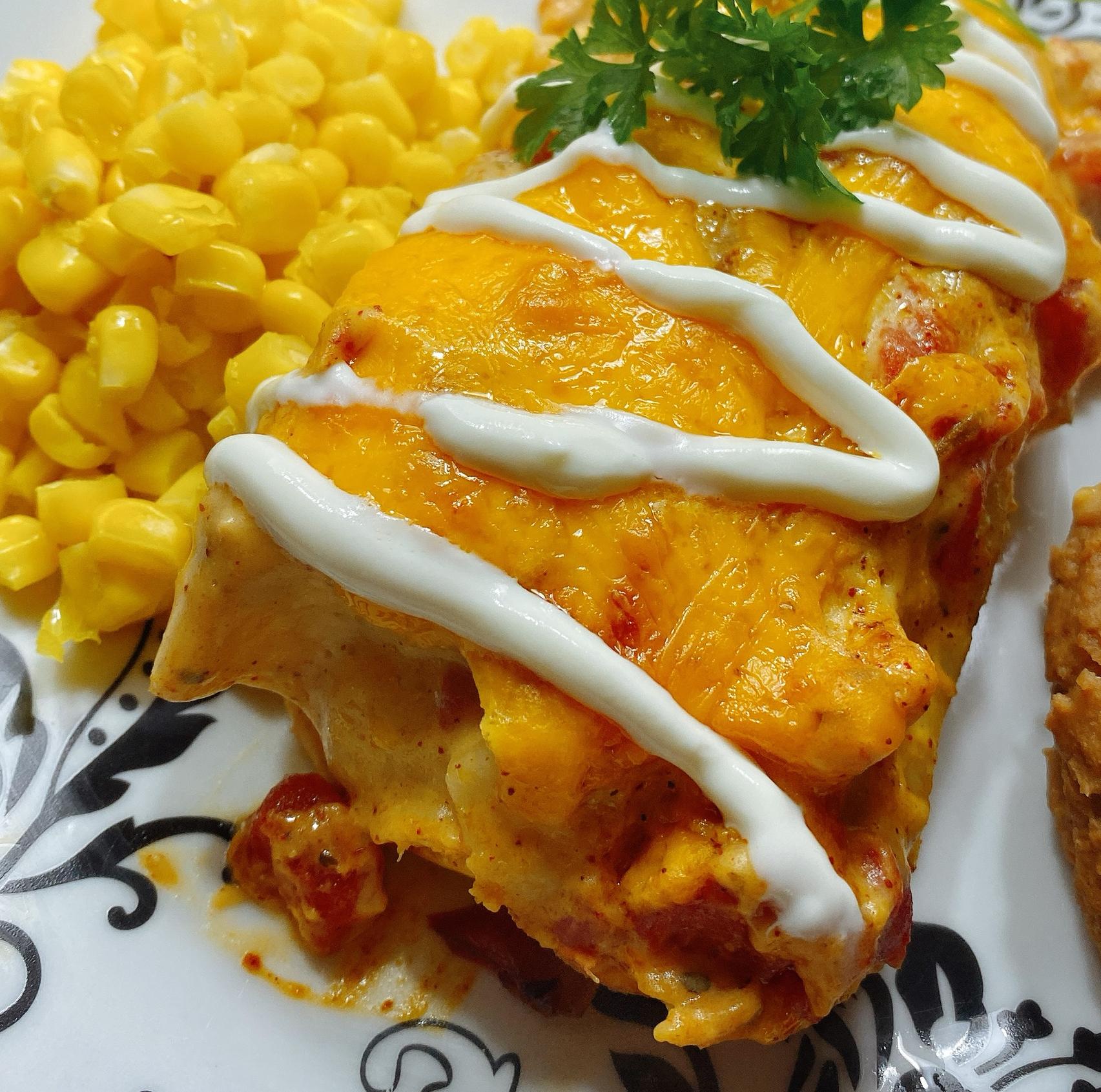 Creamy Chicken Enchiladas with White Sauce