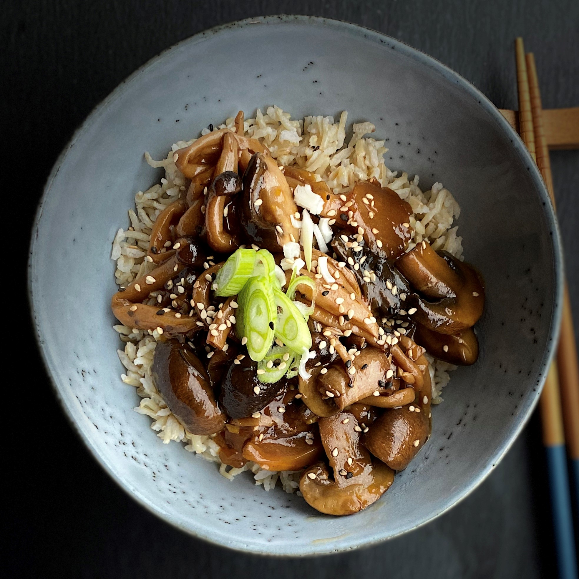 "Here's a healthy vegan take on Korean bulgogi. Mushrooms provide a savory meatlike texture here. ""Marinated mushrooms are cooked in the Instant Pot®, creating a flavorful vegan bulgogi you can serve over rice or noodles,"" says Buckwheat Queen."