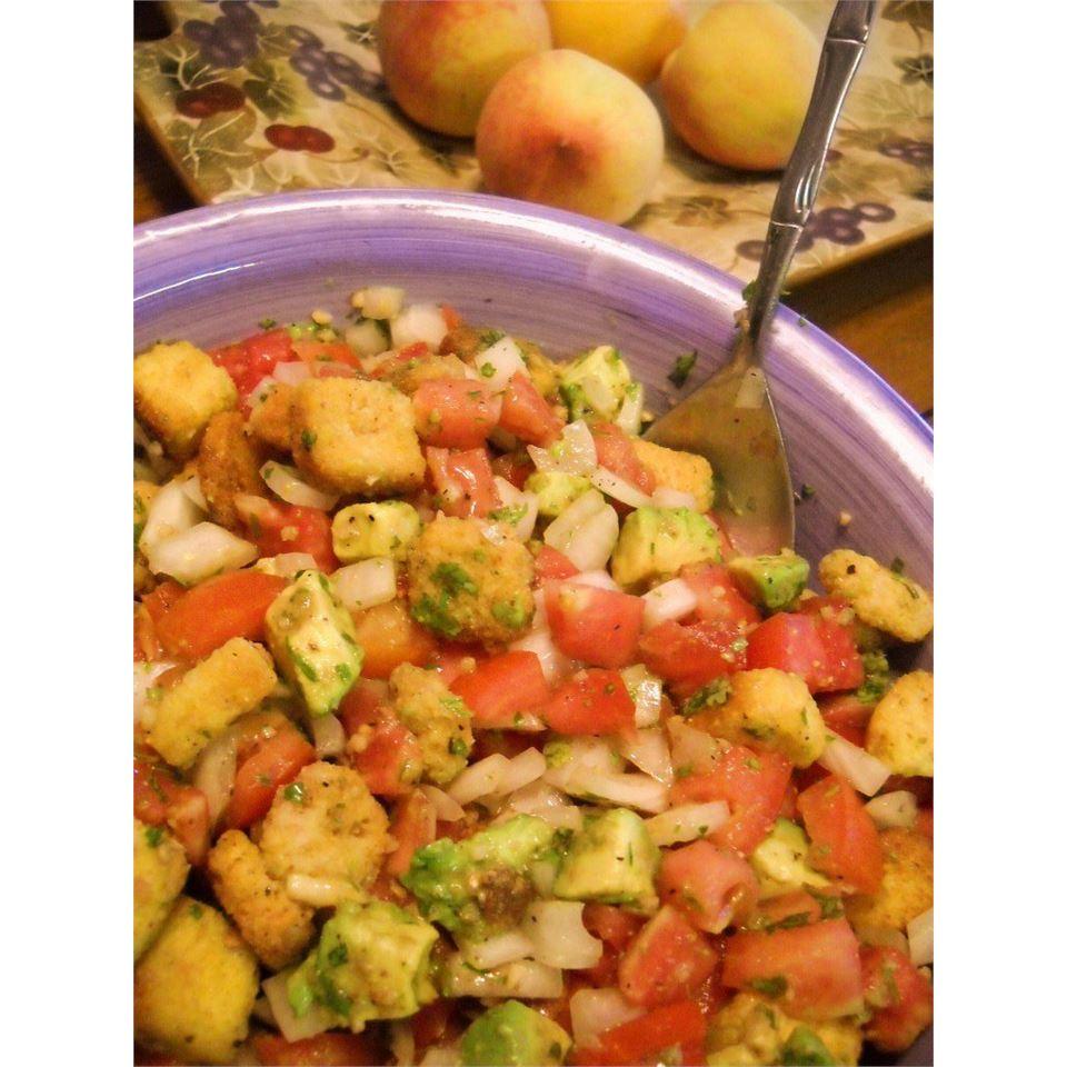Tomato-Cornbread Salad with Avocado and Cilantro Lena Sanders Hindman