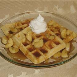Bananas Foster Belgian Waffles