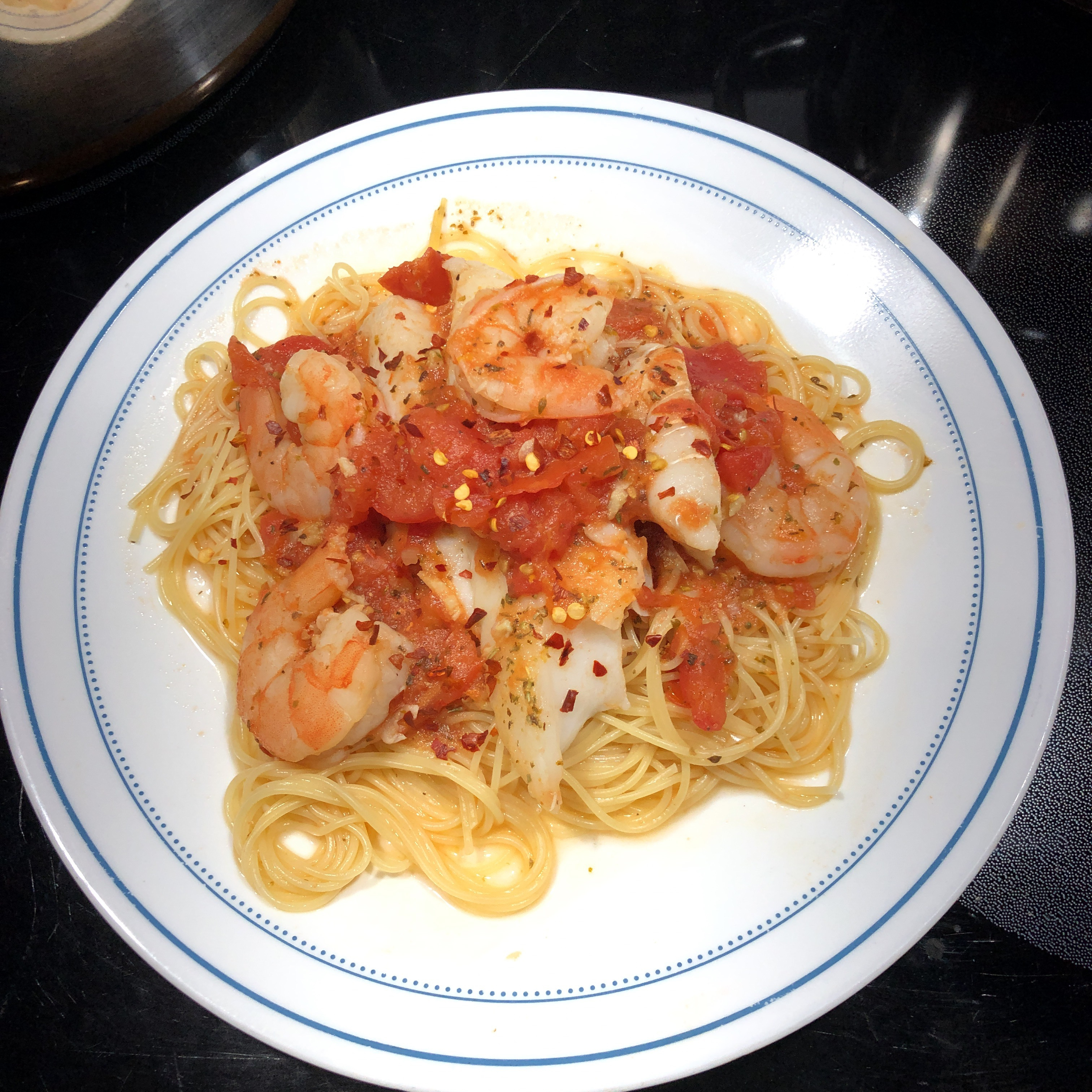 Alaskan Cod and Shrimp with Fresh Tomato
